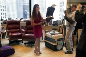 @realDonaldTrump Donald Trump's campaign communications manager Hope Hicks holds Uncle Sam, an American bald eagle